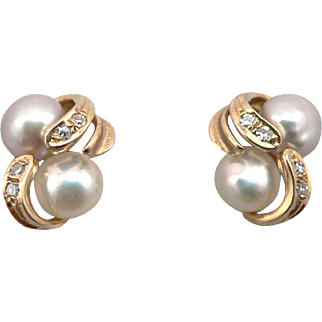 14K Yellow Gold Double Cultured Pearl Diamond Pierced Stud Earrings