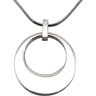Sterling Silver Tiffany & Co. Elsa Peretti Round Circle Pendant on Italy Chain Necklace