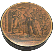 Antique 19th Century Lacquer Paper Mache Snuff Box Erotic Interior Scene