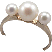 Vintage 10K Gold 3-Stone Cultured Pearl Ring Size 5 - Red Tag Sale Item