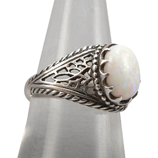 Vintage Sterling Silver 1.48ctw White Opal Cabochon Solitaire Ring Openwork