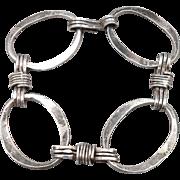 Vintage Mid Century Modern Sterling Silver Oval Link Bracelet Handmade Modernist Mod