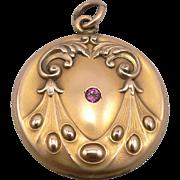 Vintage Art Nouveau Locket Gold Filled Garnet Pendant W&H Co. Beau Arts & Crafts GF/RGP