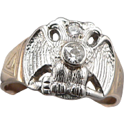Masonic 10K GOLD .33ctw Diamond Double Eagle Ring 32nd Degree 7.7g Size 13 - Red Tag Sale Item