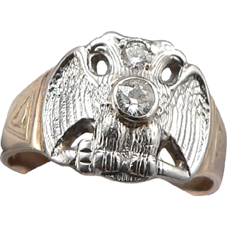 Masonic 10K GOLD .33ctw Diamond Double Eagle Ring 32nd Degree 7.7g Size 13