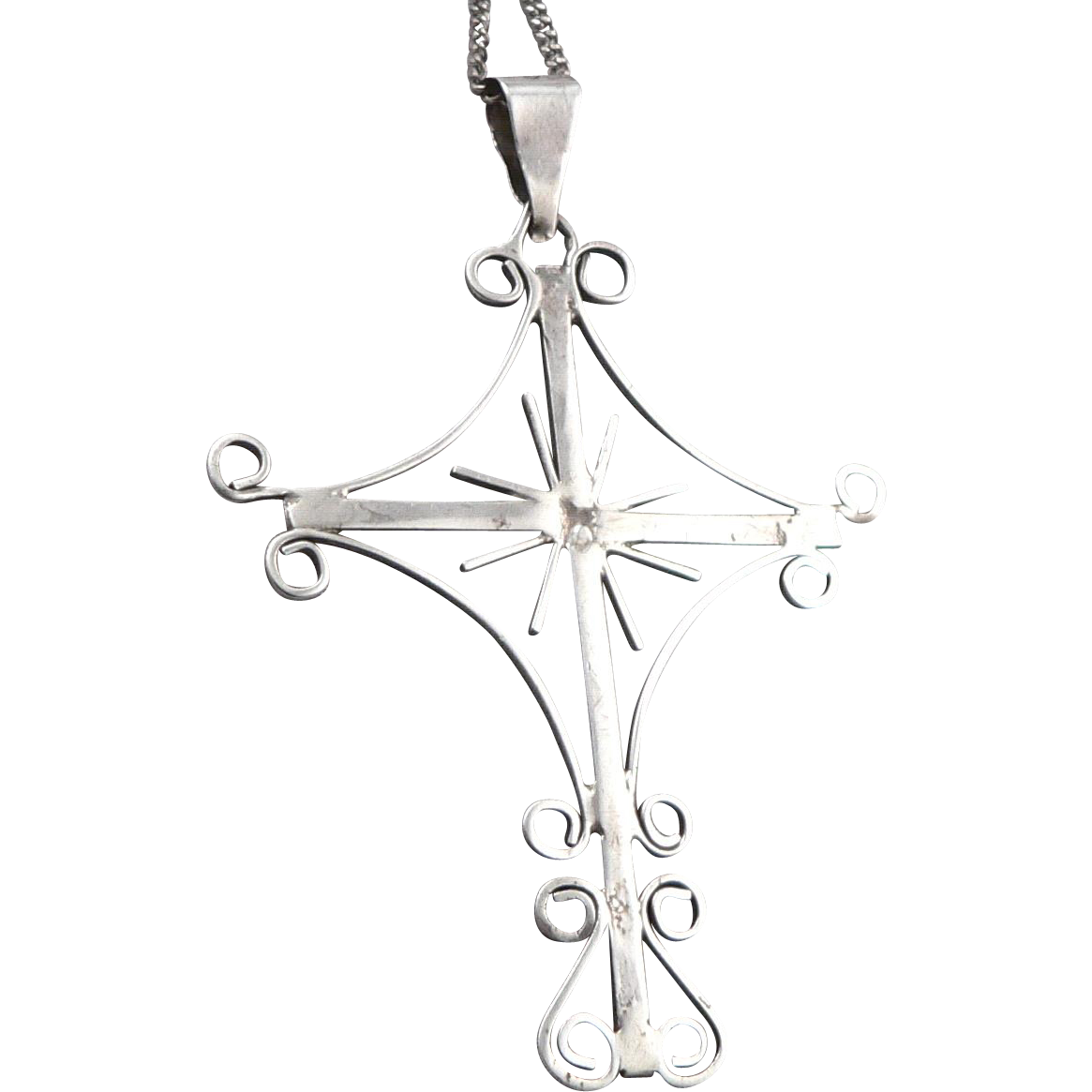 Vintage Mexico Sterling Silver Cross Pendant On Chain