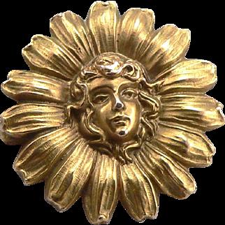 Antique Art Nouveau 10K Gold Lady Head in Daisy Flower Brooch Pin 2.3g