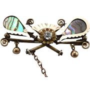 Antique Victorian Tennis Racquet & Ball Pin Brooch Abalone Paste GF/RGP