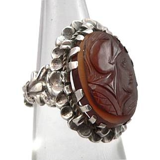 Vintage Hand Carved Carnelian Cameo Silver Ring
