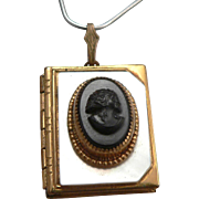 Vintage Black Glass Cameo Mother of Pearl Book Locket Pendant Goldtone