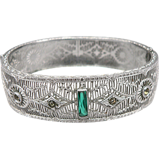 Vintage Art Deco Rhodium Plated Filigree Wide Hinged Bangle Bracelet Green Glass Rhinestone Jewels