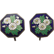 Vintage Silver and Enamel Screwback Earrings Floral Chrysanthemum Flower Japanese Cloisonne