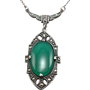 Vintage Art Deco Green Chrysoprase Marcasite Sterling Silver Necklace
