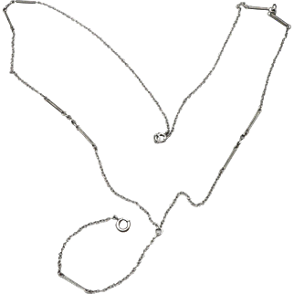Vintage Art Deco Sterling Silver Lorgnette Chain Y Pendant Watch Necklace Fancy Link 5.2g