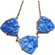 Vintage c1930's Art Deco Molded Star Blue Lapis Glass Necklace Unsigned Czech