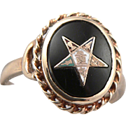 Vintage c1930's Order of the Eastern Star 10K Gold Ring Black Onyx Enamel OES Fraternal