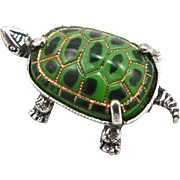Vintage BEAU Sterling Silver Turtle Glass Shell Pin Brooch Figural Tortoise Signed