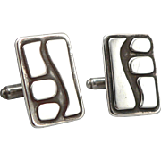 Vintage Modernist Sterling Silver Cufflinks Cuff Button Links Modern