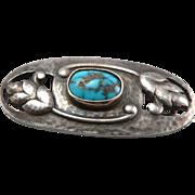 MURRLE BENNETT Arts & Crafts 950 Sterling Silver Turquoise Brooch Pin Hammered Leaf