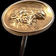 "Rare CAMEL Head Repousse Hat Pin 10K Yellow Gold 7"""
