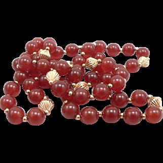 "Vintage 10mm Carnelian Bead & 14K Gold Beaded Necklace 31"" Long"