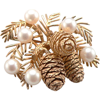 Vintage Yellow 14K GOLD PINECONE Brooch Pin Cultured Pearls Laykin et Cie Pine Cone