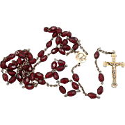 Vintage 800 Silver Red Glass Bead BEADED ROSARY Cross Crucifix ROMA ITALY