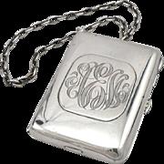 Vintage Sterling Silver Necessary Case Purse Wallet on Wrist Chain R. Blackington Co.
