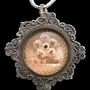 Vintage 800 Silver Filigree Saint John Bosco Reliquary Relic Theca Pendant S. J. Bosco