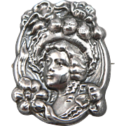 Vintage Art Nouveau Lady Head Flowers Small Pin Brooch Sterling Silver Front