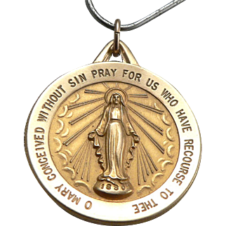 "14K Yellow Gold Miraculous Medal Virgin Mary Pendant Charm Large 1"" Disk Vintage Estate"