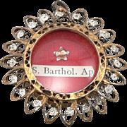 Vintage 800 Silver Filigree Saint Bartholomew Reliquary Relic Theca Pendant S. Barthol. Ap