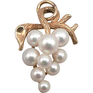 Vintage 14K Yellow GOLD Cultured Pearl Cluster Bunch of Grapes Pendant Krementz 3.9 Grams