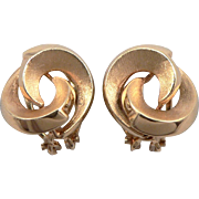 Yellow 14K Gold Yin Yang Knot Clip On Earrings 4.9g Satin Matte & Polished