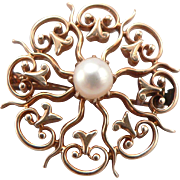 Vintage Edwardian 14K GOLD 5mm Cultured Pearl Solitaire PIN Brooch Starburst Circle Sunburst