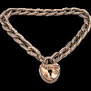 Antique Victorian Gold Filled Heart Padlock Lock Bracelet Fancy Chain Link GF/RGP