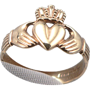 Vintage 9K Gold Irish Claddagh Ring Band Love Loyalty Friendship Ireland