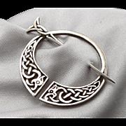 Vintage c1978 Sterling Silver Penannular Brooch Pin Celtic Knot Edinburgh Scotland John Hart