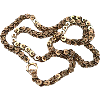 "Antique Victorian Gold Filled Fancy Link Chain 18.75"" Necklace GF/RGP 22.9 Grams"