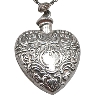 Vintage Sterling Repousse Puffy Heart Perfume Bottle Pendant 835 Silver Twist Link Chain Necklace
