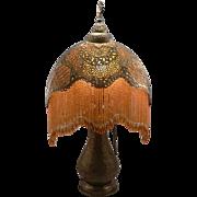Antique c1915 Pierced Brass Moorish Beaded Fringe Crescent Table Lamp Vintage