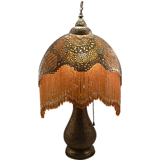 Antique c1915 Pierced Brass Moorish Beaded Fringe Crescent Table Lamp Vintage