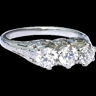 Art Deco Three Diamond Ring With Old European Cut Diamonds