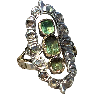 Vintage Ring With Natural Emerald And Rose Cut Diamonds
