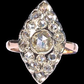 Vintage Rose Cut Diamond Navette Ring