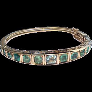 Antique Natural Emerald Bangle Bracelet