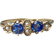 Antique Natural Sapphire And Seed Pearl Ring