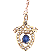 Antique Heart Necklace With Sapphire & Split Pearl