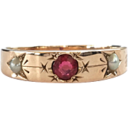 Antique Victorian Garnet And Split Pearl Ring