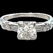 Art Deco Diamond Engagement Ring In Platinum With Baguettes